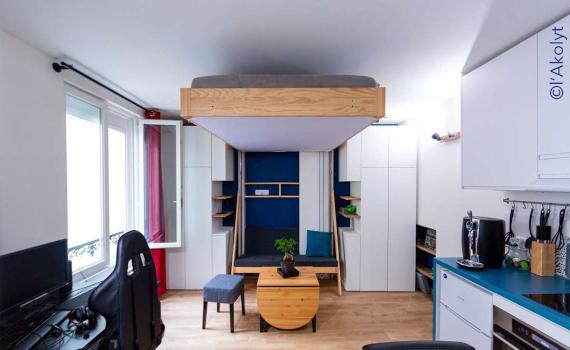lit escamotable JUNO dans un studio